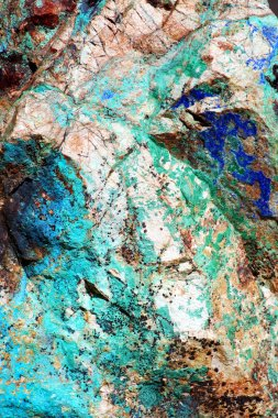 A close-up look at the intense greens and blues of malachite and azurite in