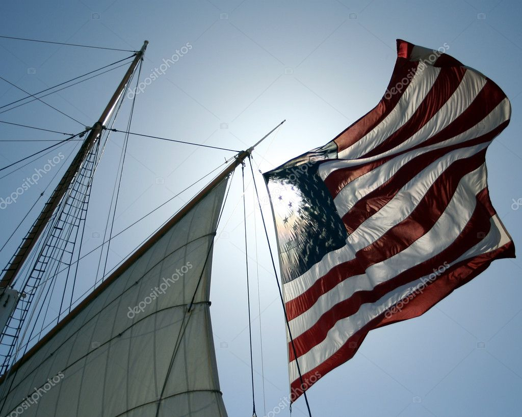 An Amrican Flag Flies on a Sailing Ship