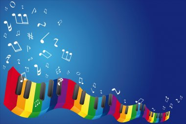Music background with music notes and piano keyboard