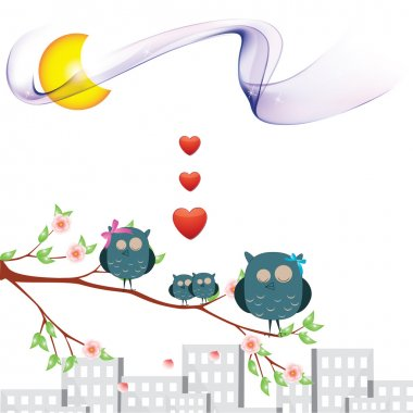 Owl and love Illustrations for celebration and for your love friend