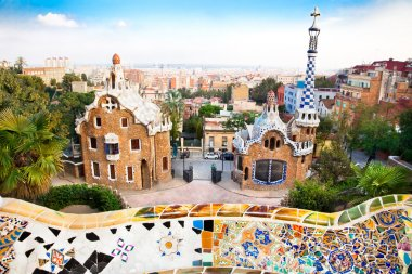 Colorful architecture by Antonio Gaudi in park Guell