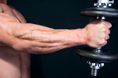 Bicep with hand weight