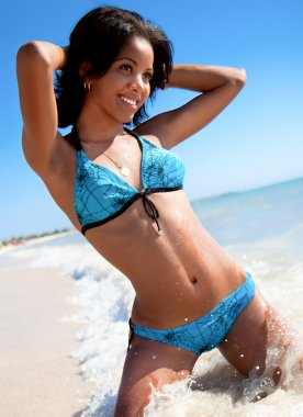 Bright photo of a beautiful caribbean woman