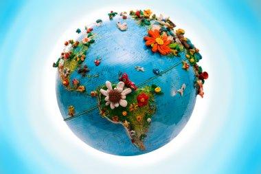 Flowered America Globe