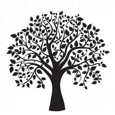 Black tree silhouette, isolated on white background stock vector