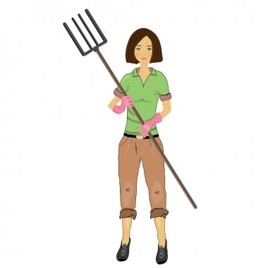 Woman farmer with a pitchfork in his hand