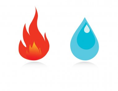 Water drop and fire