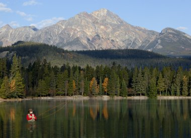 Fly Fishing In Rocky Mountains, Alberta, Canada