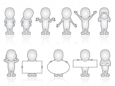 Blank character holding signs set
