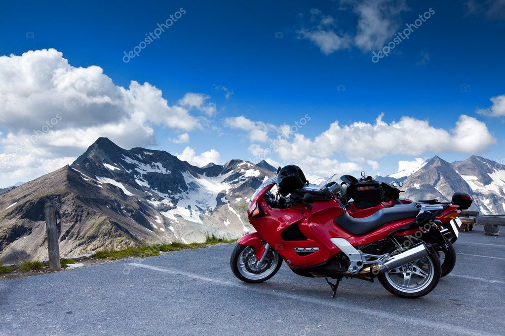 Motorbikes on mountain.