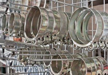 Metal hose clips. Clamp rings.