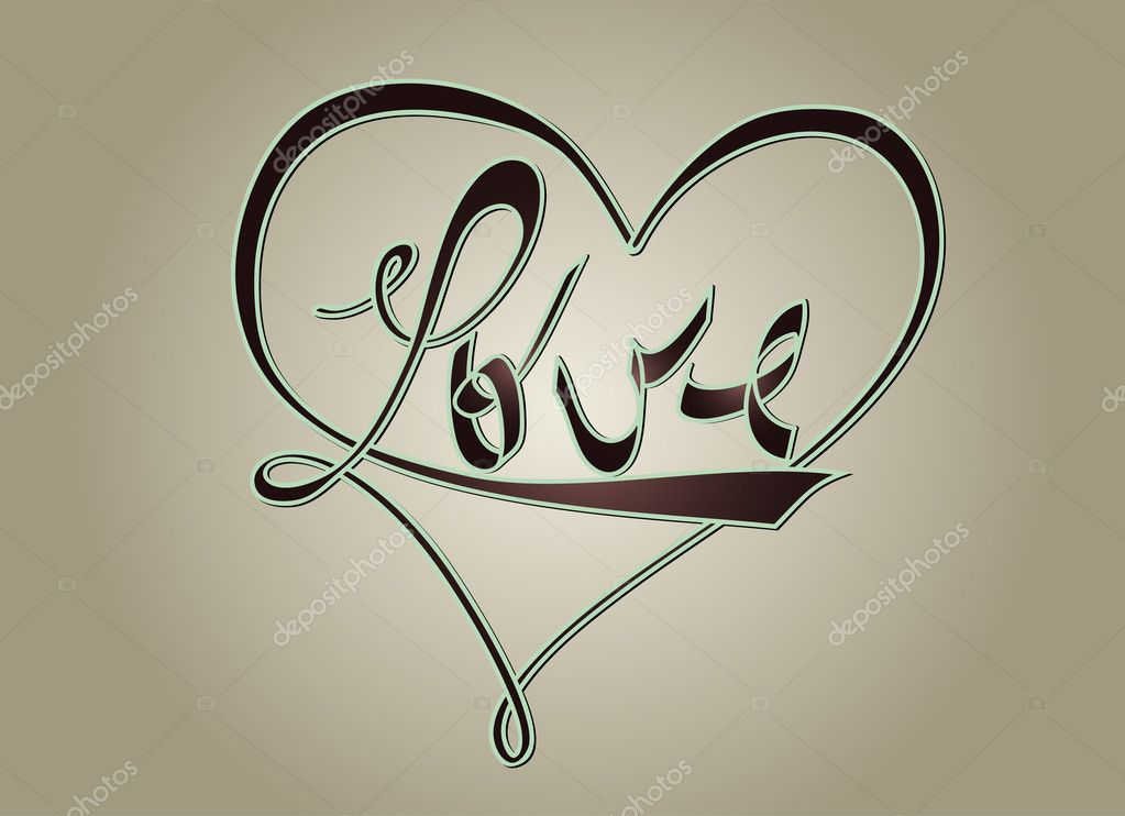 Typographic design with the word Love made with the shape of heart - good for cards clipart vector