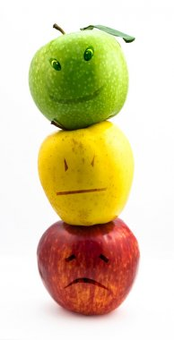 Apple emotions on white background