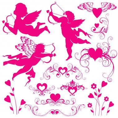 Set of elements for valentines day clip art vector