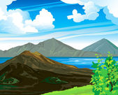 Photo Summer landscape with volcano and lake Batur. Indonesia, Bali.