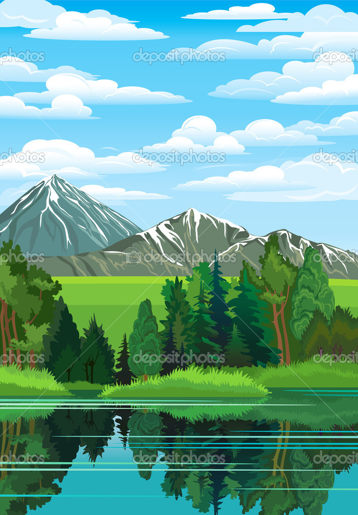 Landscape with forest, river and mountains