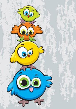 Funny cartoon family of birds standing on each other clip art vector