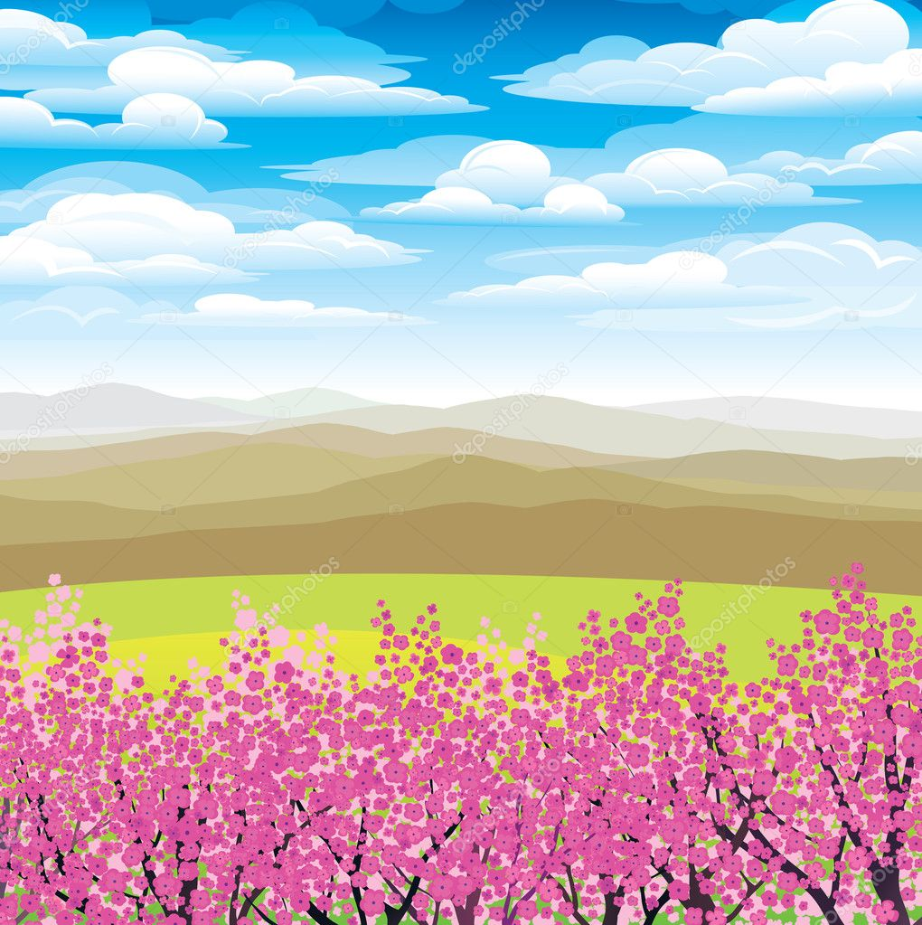 Pink japanese trees and mountains