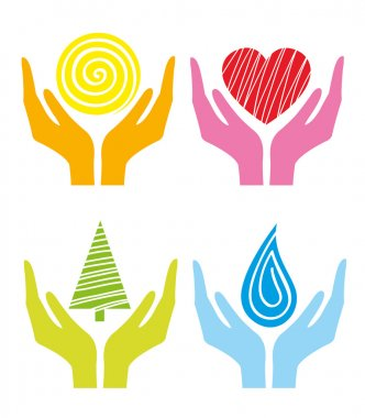 Symbols of colored human's hands
