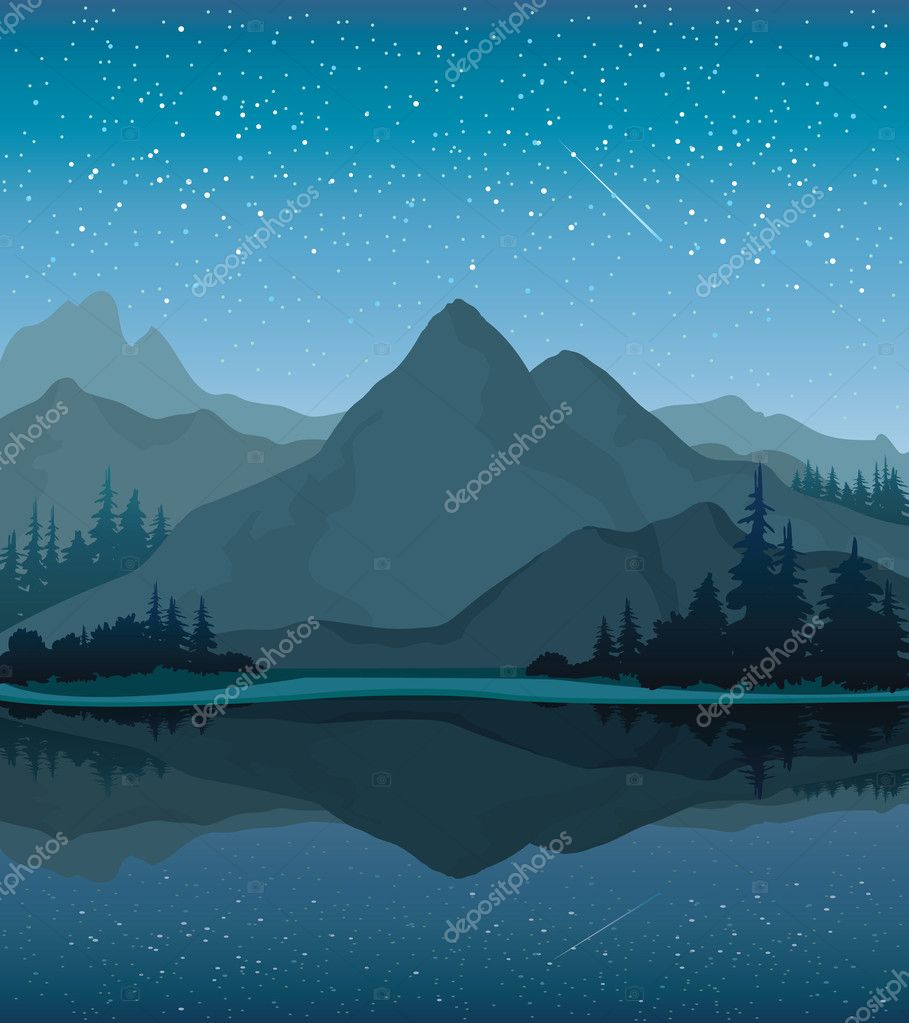 Night landscape with mountains and lake