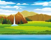 Zelená krajina s louky, hory a woterfall