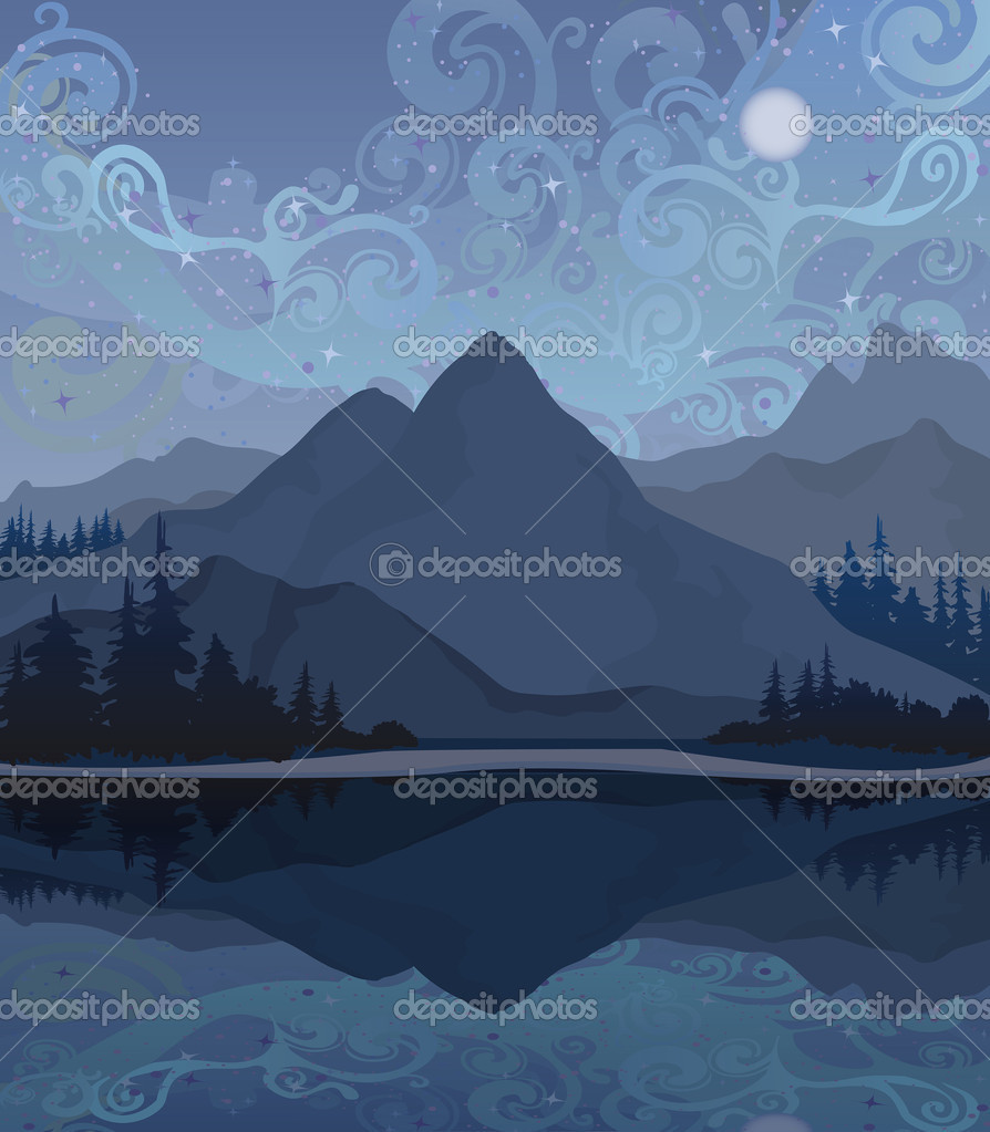 Vector night landscape