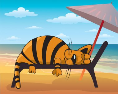 Cartoon fanny cat sleeping on a beach clip art vector