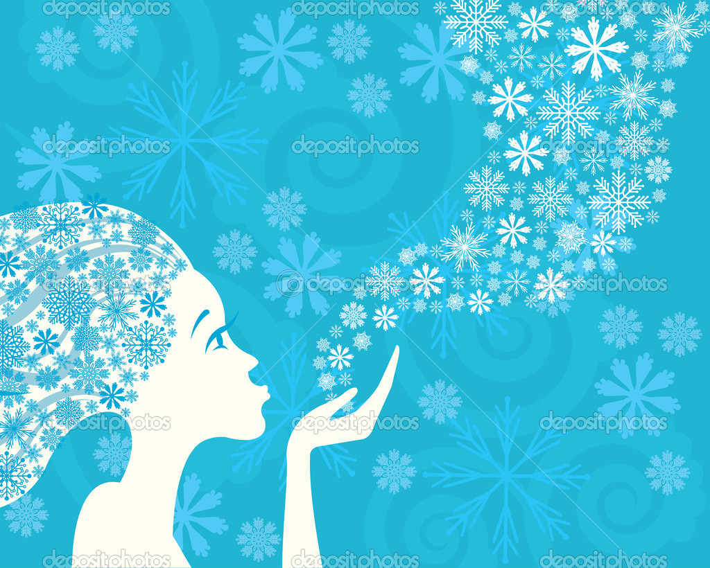 Winter woman and snowflakes