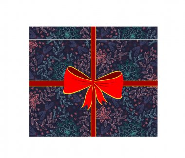 Vector gift box with red bow