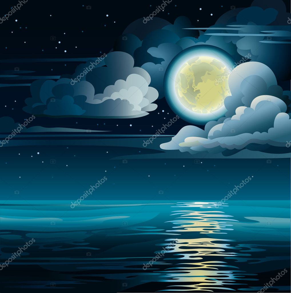 Moon and sea