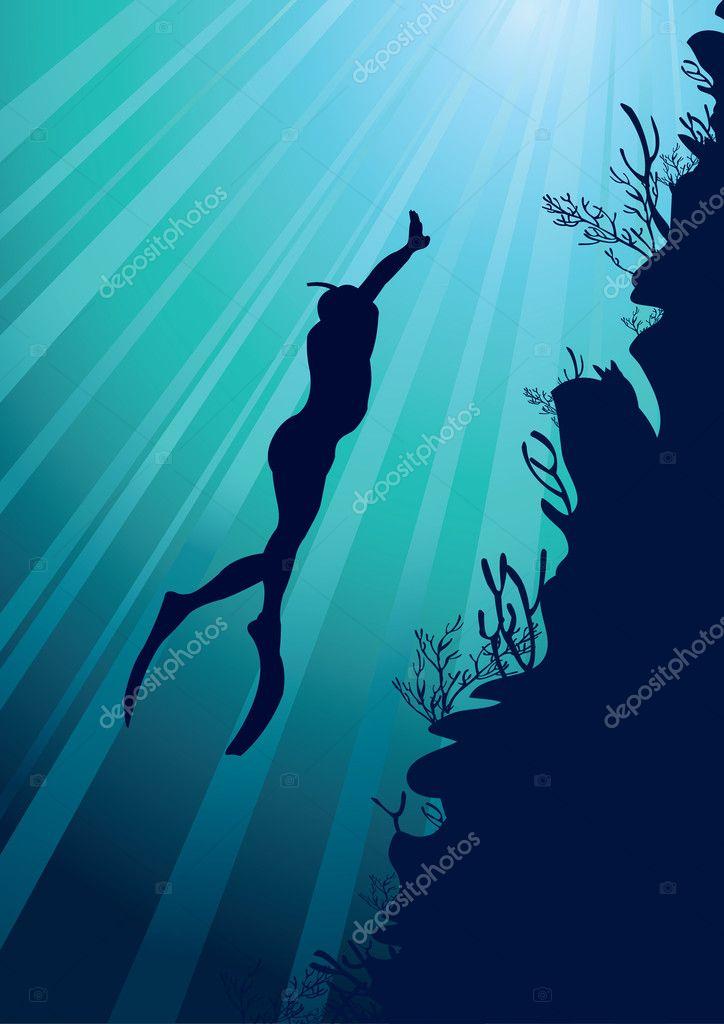 Freediver on a sea