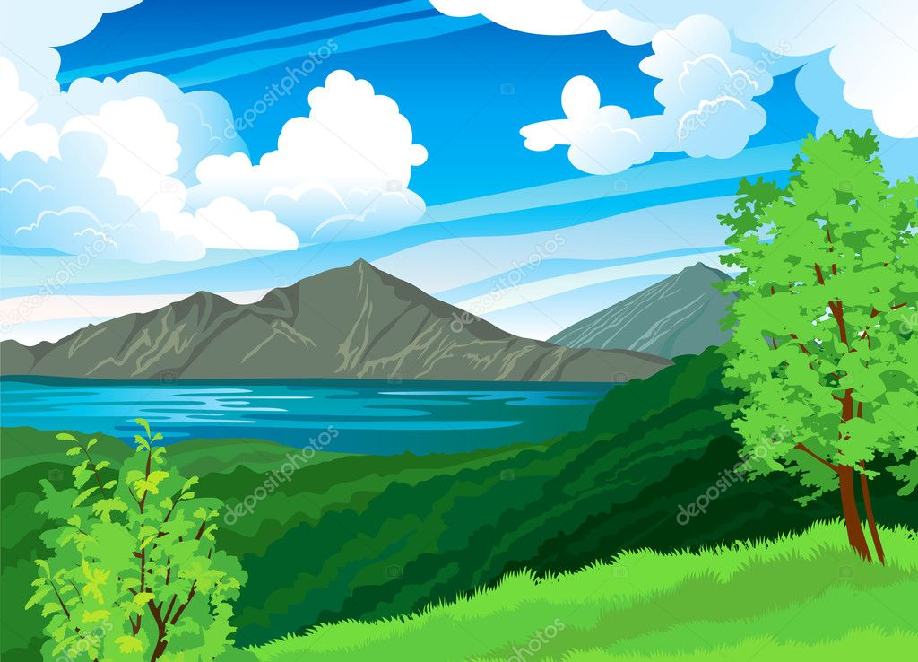 Summer landscape with volcano and lake Batur. Indonesia, Bali.