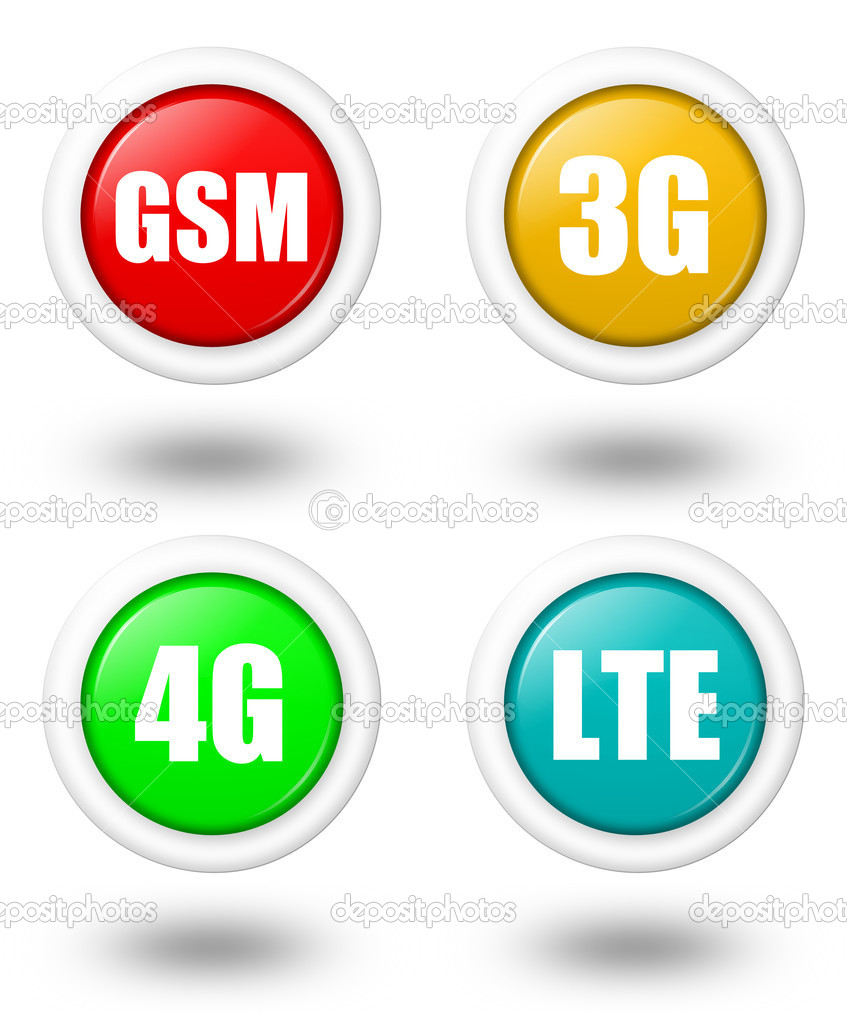 LTE, 4G, 3G and GSM icon with shadow