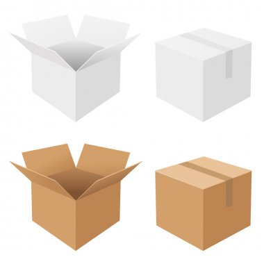 4 Boxes, Isolated On White Background, Vector Background stock vector