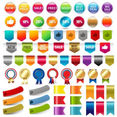 Big Collection Sale Stickers And Web Ribbons Set, Vector Illustration stock vector