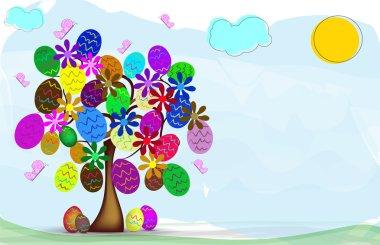Sfondo di Pasqua con albero primaverile e ovetti decorati