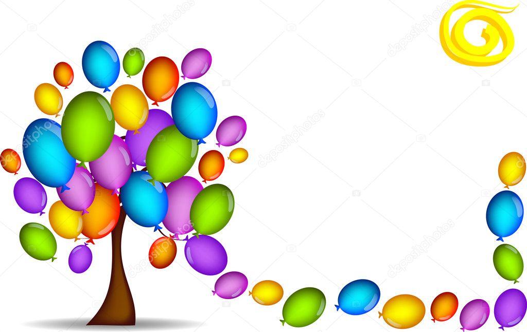 Sfondo con albero di palloncini vettoriali stock - Immagine con palloncini ...