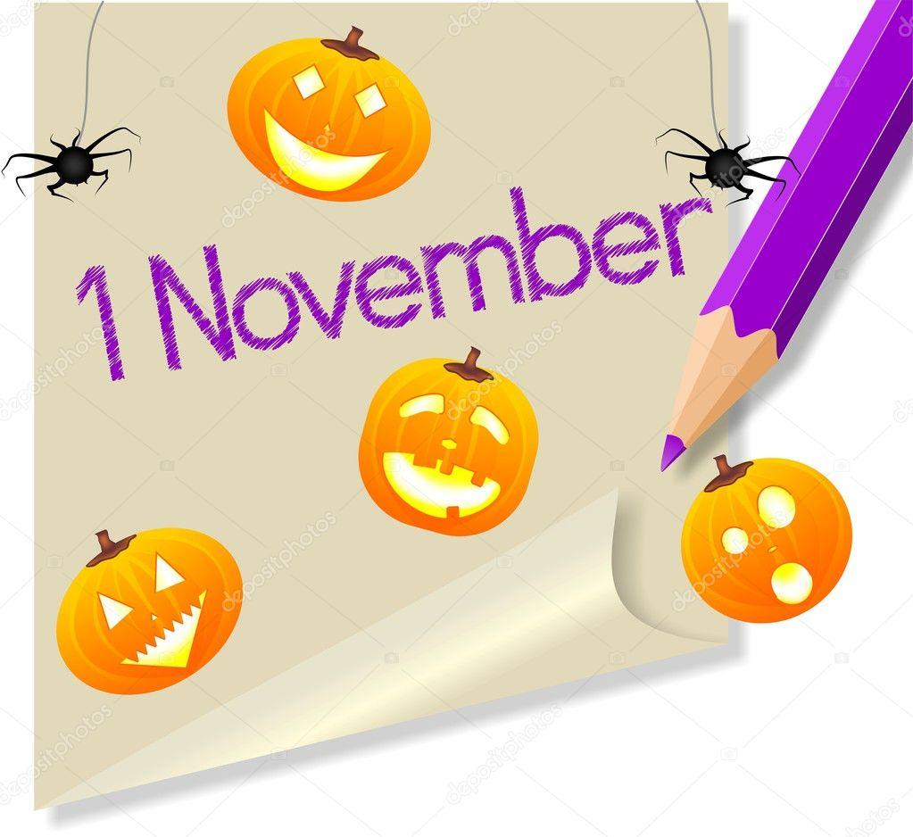 Halloween 1 November.Post It November 1 Halloween Party Stock Vector