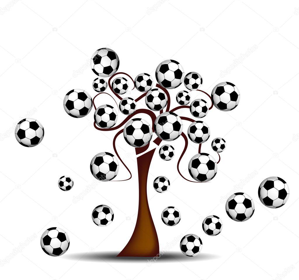 Tree with footballs