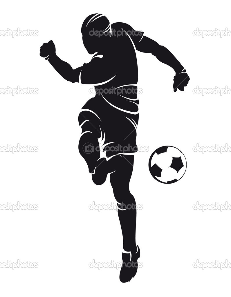 vector football soccer player silhouette with ball isolated vector by chebanova
