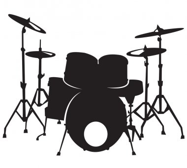 Black silhuette of the drum set, isolated on white background clip art vector