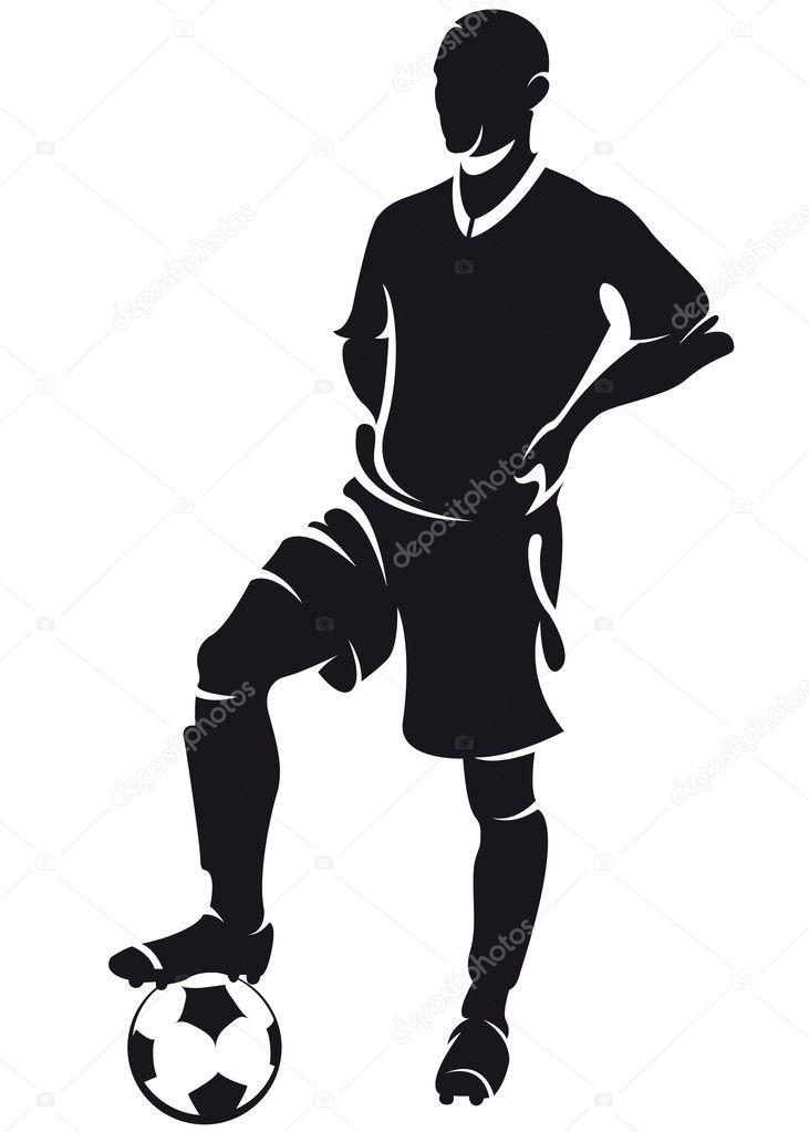 vector football soccer player standing silhouette stock vector rh depositphotos com soccer player vector cartoon soccer player vector graphic