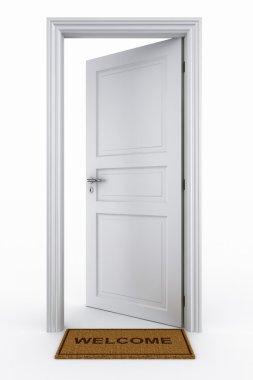 Open door with welcome mat