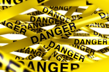 3d rendering of caution tape with DANGER written on it stock vector