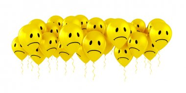 Balloons with sad smiley faces