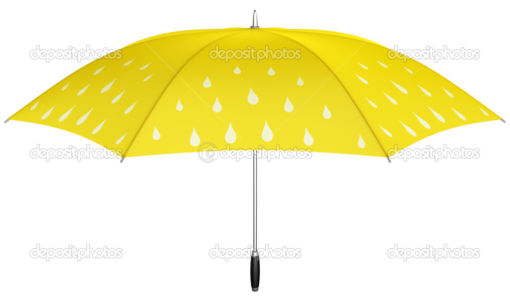 8a16839ba334a 3d rendering of an yellow umbrella with white rain drops — Photo by zentilia