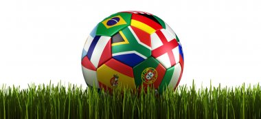 Soccerball with flags in grass