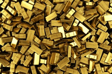 Scattered gold bars