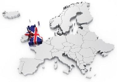 United Kingdom on a Euro map