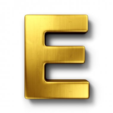 The letter E in gold